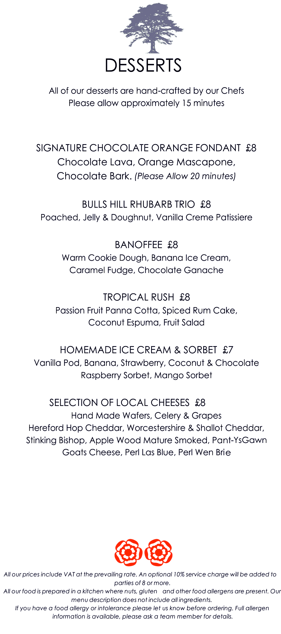 Glewstone Court Country House Hotel in Ross on Wye Menu P2